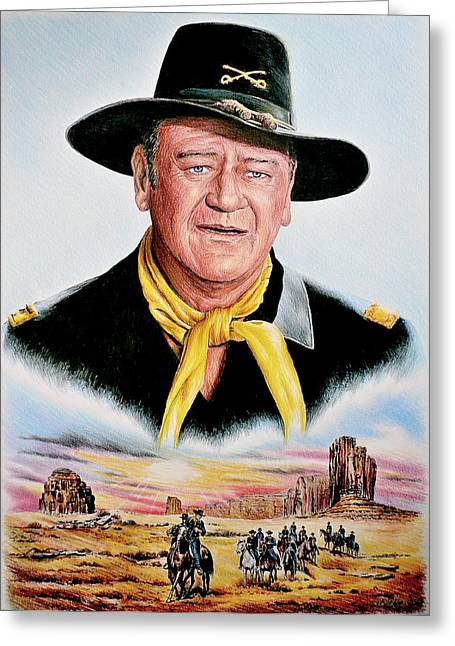 Western Pencil Drawings Greeting Cards - The Duke U.S.Cavalry Greeting Card by Andrew Read