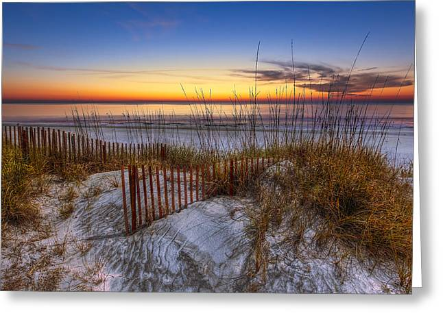 Fencing Greeting Cards - The Dunes at Sunset Greeting Card by Debra and Dave Vanderlaan
