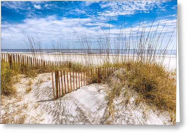 Oceanscape Greeting Cards - The Dunes Greeting Card by Debra and Dave Vanderlaan