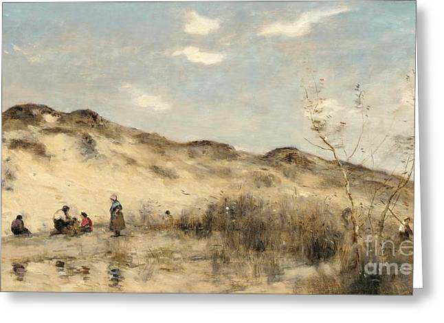 On The Beach Greeting Cards - The Dunes of Dunkirk Greeting Card by Jean Baptiste Camille Corot