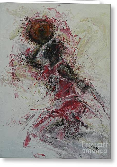 Slam Dunk Paintings Greeting Cards - The Dunk  Greeting Card by Dan Campbell