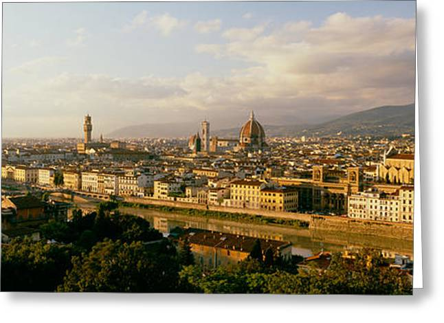 Florence Greeting Cards - The Duomo & Arno River Florence Italy Greeting Card by Panoramic Images