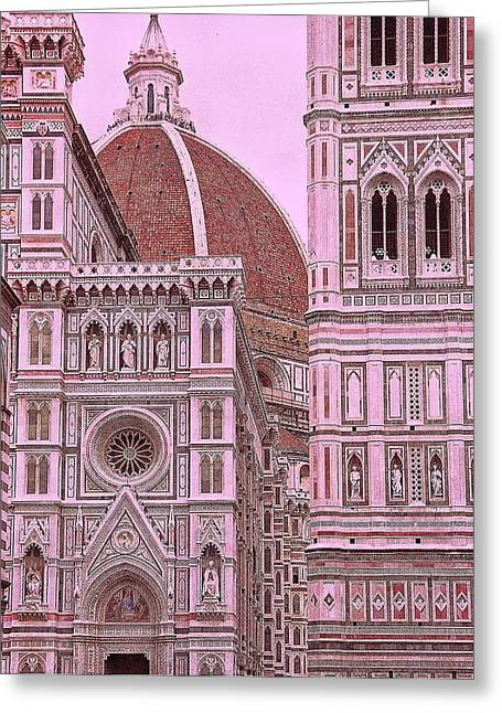 Tuscan Sunset Greeting Cards - The Duomo of Florence  Greeting Card by Allen Beatty