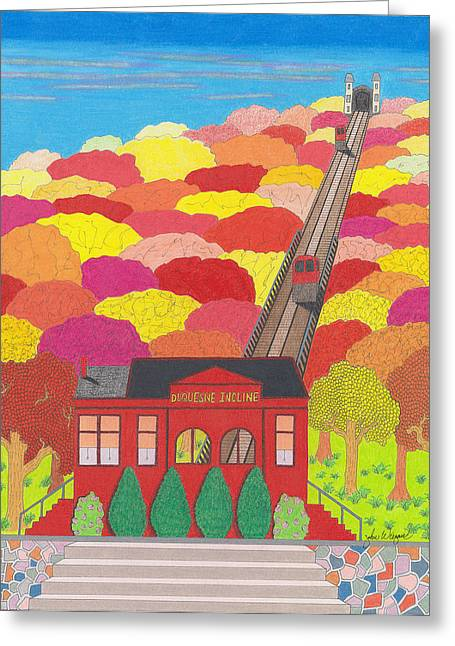 Brick Buildings Drawings Greeting Cards - The Duquesne Incline  Greeting Card by John Wiegand