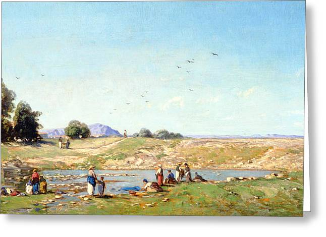 Washerwomen Greeting Cards - The Durance Valley, 1867 Oil On Panel Greeting Card by Paul Camille Guigou