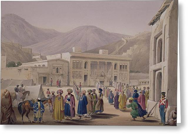 Gathering Drawings Greeting Cards - The Durbar-khaneh Of Shah Greeting Card by James Atkinson
