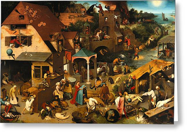 Religious Artwork Paintings Greeting Cards - The Dutch Proverbs Greeting Card by Pieter Brueghel the Elder