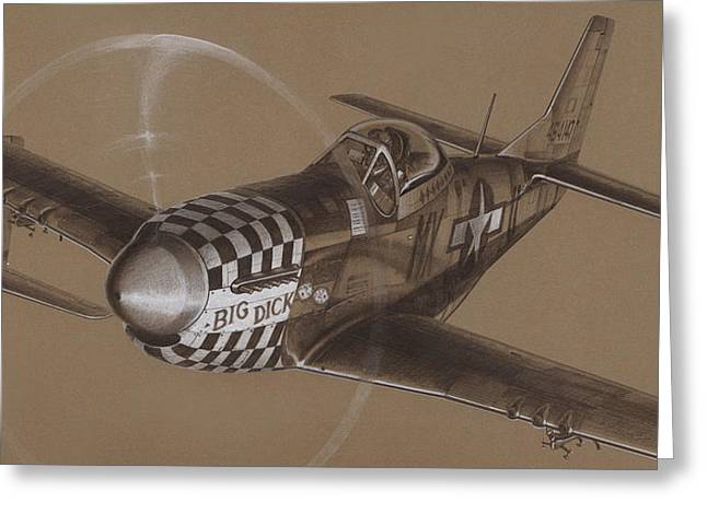 P-51 Mustang Greeting Cards - The Duxford Boys drawing Greeting Card by Wade Meyers