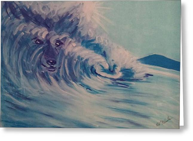 Strength Pastels Greeting Cards - The Dynamism of the water breaths wolf Greeting Card by Robert Pikula