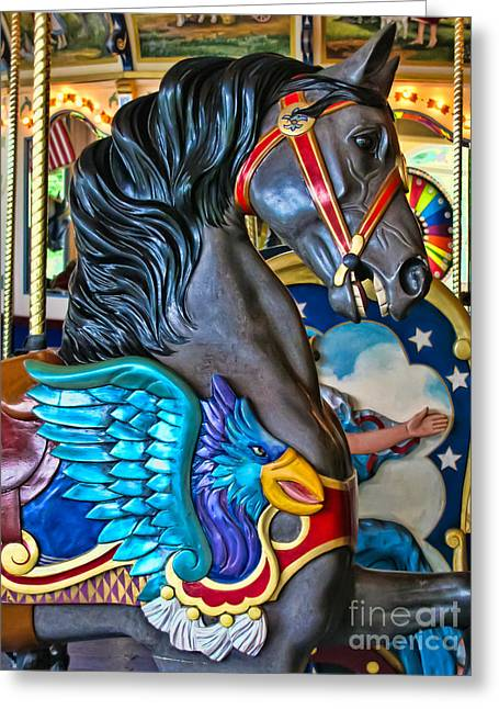 Painted Ponies Greeting Cards - The Eagle and Horse Greeting Card by Colleen Kammerer
