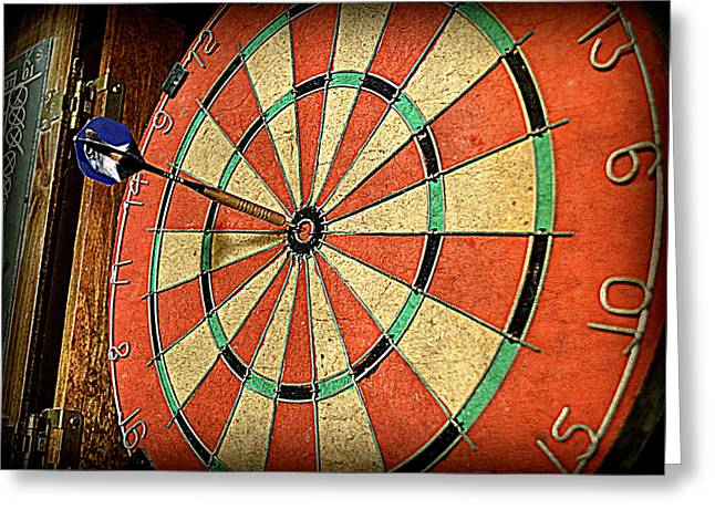 Dartboard Greeting Cards - The Eagle has Landed Greeting Card by Michelle Calkins