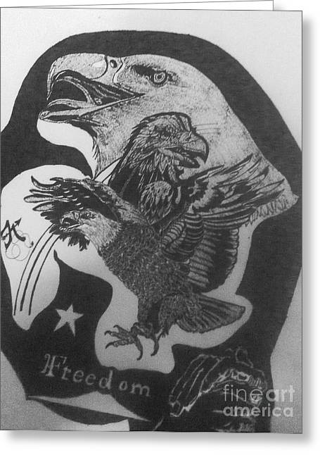 Indian Ink Mixed Media Greeting Cards - The eagle of freedom Greeting Card by Franky A HICKS