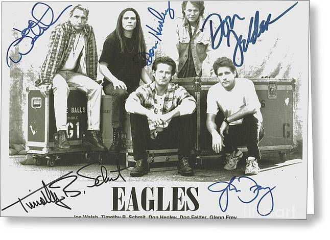 Eagles Greeting Cards - The Eagles Autographed Greeting Card by Desiderata Gallery