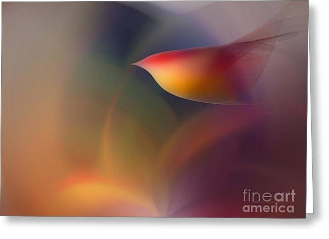 Poetical Greeting Cards - The Early Bird-Abstract Art Greeting Card by Karin Kuhlmann