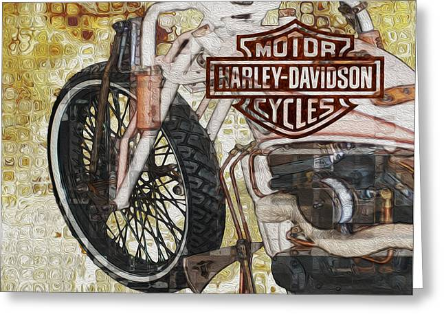 Alteration Greeting Cards - The Early Years Of Harley Davidson Greeting Card by Jack Zulli