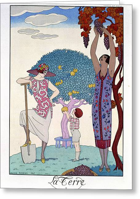 Grape Print Greeting Cards - The Earth Greeting Card by Georges Barbier