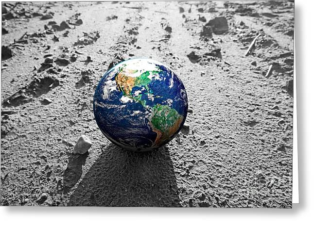 World Problems Greeting Cards - The Earth globe on rocky Mars like surface Greeting Card by Michal Bednarek