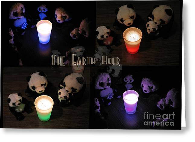 Pandute Digital Art Greeting Cards - The Earth Hour In The Pandaland Greeting Card by Ausra Paulauskaite