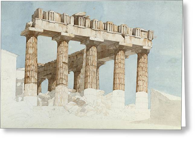 Acropolis Greeting Cards - The East End And South Side Of The Parthenon, C.1813 Wc & Graphite On Paper Greeting Card by John Foster