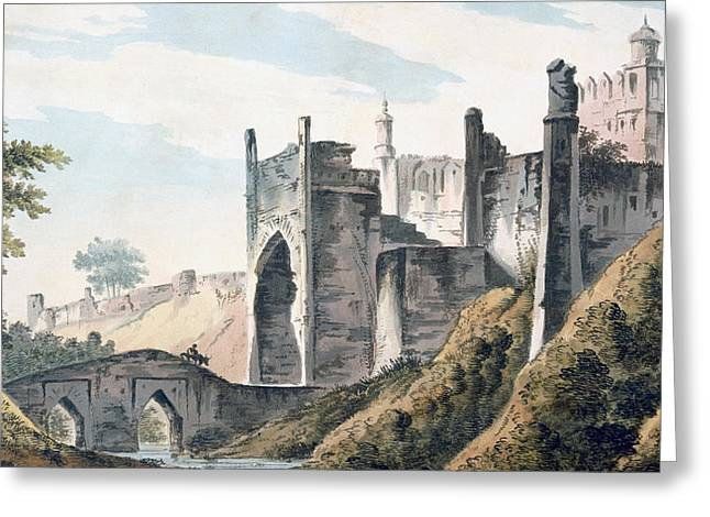British Empire Greeting Cards - The East End of the Fort of Mongheer Greeting Card by William Hodges