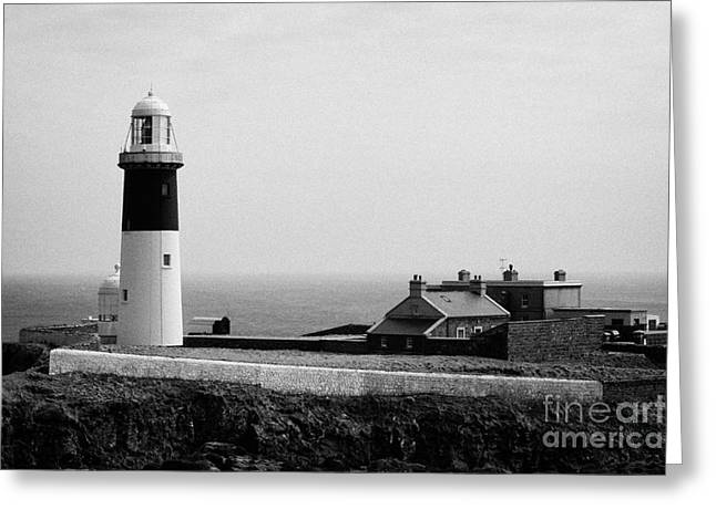 The East Light Lighthouse And Buildings Altacarry Altacorry Head Rathlin Island  Greeting Card by Joe Fox