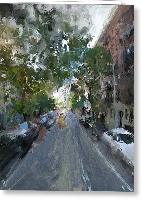 Tree Lines Mixed Media Greeting Cards - The East Side Greeting Card by Russell Pierce