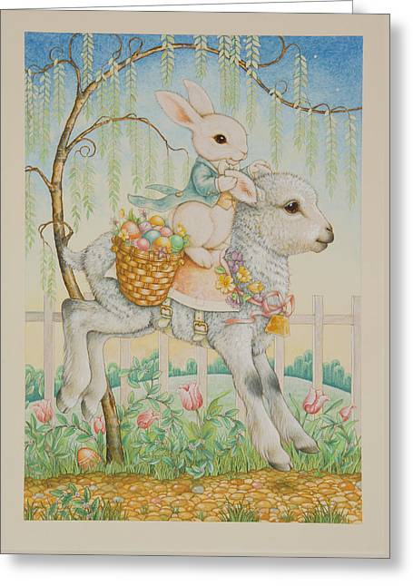 Easter Greeting Cards - The Easter Bunny is Coming to Town Greeting Card by Lynn Bywaters