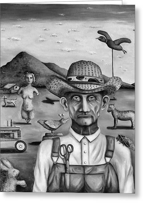 Scissors Paintings Greeting Cards - The Eccentric Farmer bw Greeting Card by Leah Saulnier The Painting Maniac