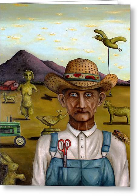 Scissors Greeting Cards - The Eccentric Farmer edit 2 Greeting Card by Leah Saulnier The Painting Maniac