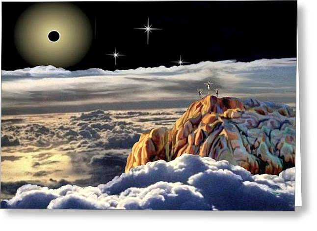 Cross On The Grave Greeting Cards - The Eclipse at Calvary Greeting Card by Ronald Chambers