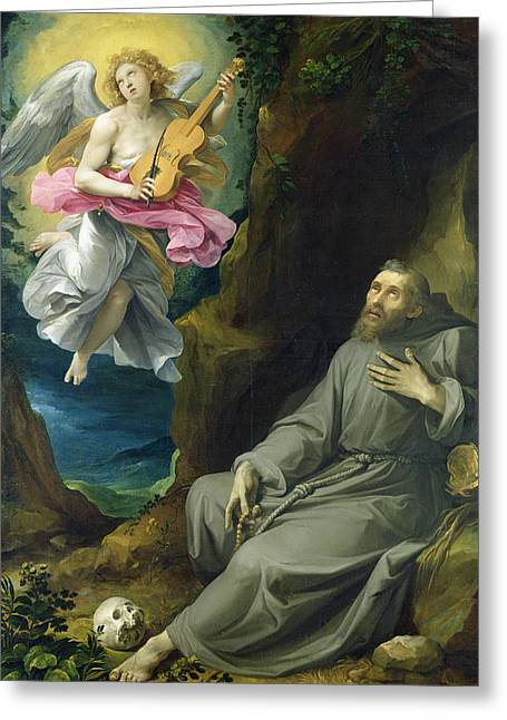 St. Francis Of Assisi Greeting Cards - The Ecstasy of St. Francis of Assisi Greeting Card by Guiseppe Cesari
