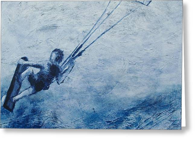 Kite Surfing Greeting Cards - the Edge Greeting Card by Lisbet Damgaard