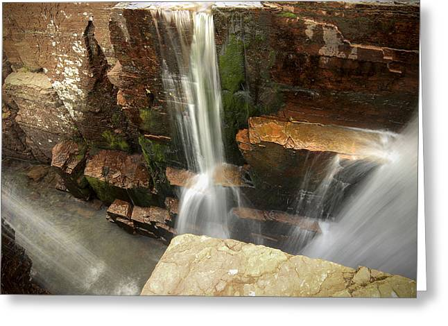 Triple Falls // Glacier National Park Greeting Card by Nicholas Parker