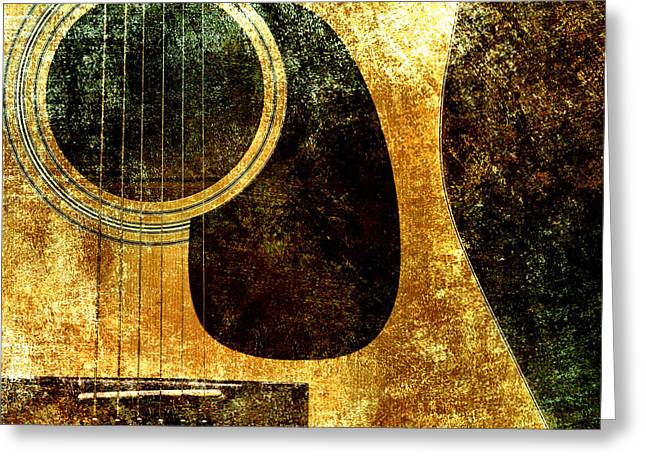Equipment Mixed Media Greeting Cards - The Edgy Abstract Guitar Square Greeting Card by Andee Design