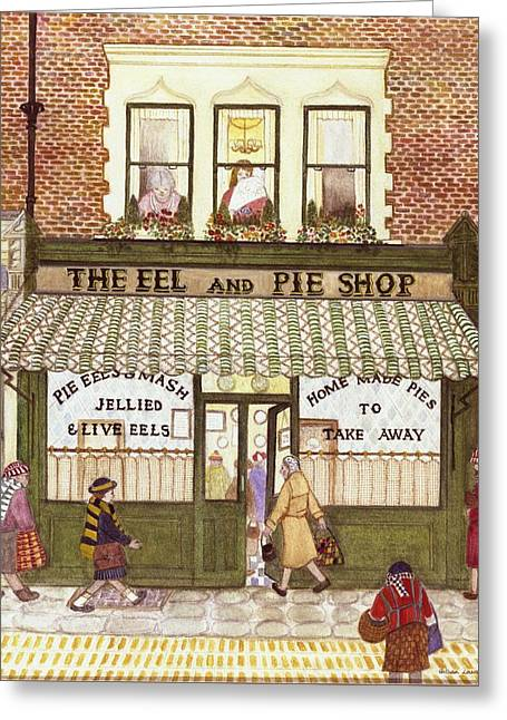 Shopper Greeting Cards - The Eel And Pie Shop, 1989 Watercolour On Paper Greeting Card by Gillian Lawson