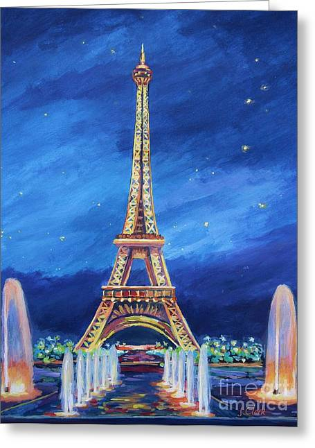 European City Greeting Cards - The Eiffel Tower and Fountains Greeting Card by John Clark