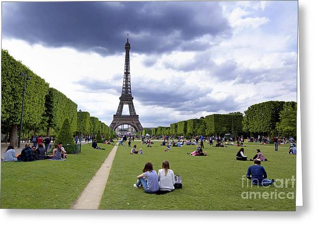 Champs Photographs Greeting Cards - The Eiffel Tower and the Champ de Mars. Paris. France Greeting Card by Bernard Jaubert