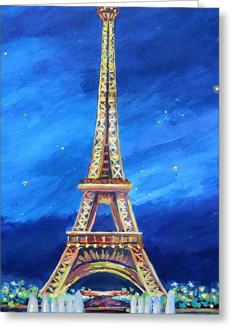 Expressionist Greeting Cards - The Eiffel Tower at Night Greeting Card by John Clark