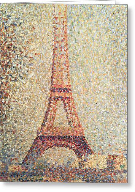 Pointillist Paintings Greeting Cards - The Eiffel Tower Greeting Card by Georges Pierre Seurat