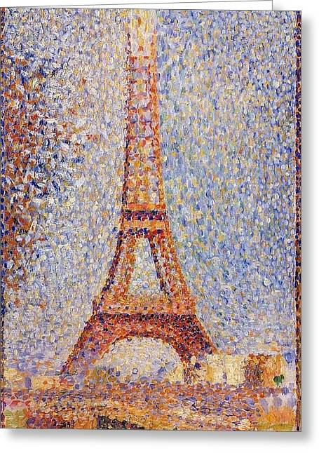 Seurat Greeting Cards - The Eiffel Tower Greeting Card by Georges Seurat