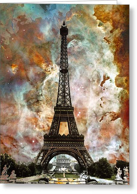 Paris Greeting Cards - The Eiffel Tower - Paris France Art By Sharon Cummings Greeting Card by Sharon Cummings