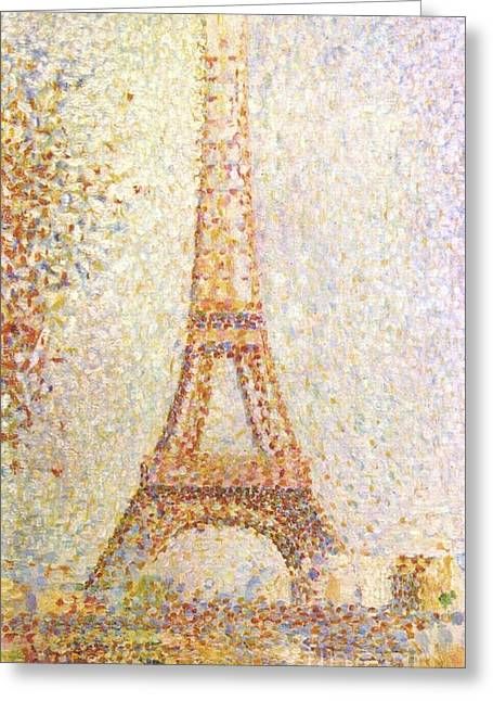 Seurat Greeting Cards - The Eiffel Tower Greeting Card by Pg Reproductions