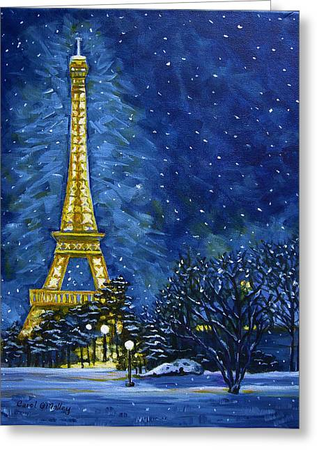 Paris Pastels Greeting Cards - The Eiffel Towers Snowy Night Greeting Card by Carol OMalley