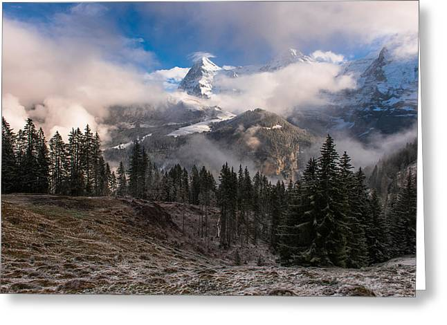 Swiss Greeting Cards - The Eiger Greeting Card by Scott Hafer
