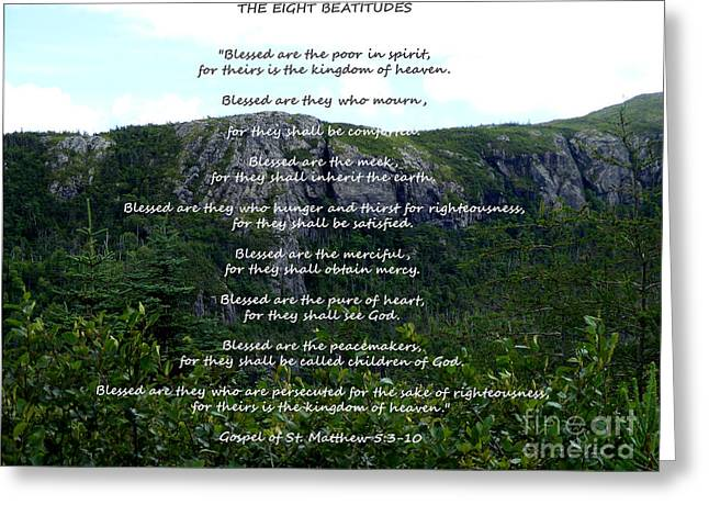 Gospel Of Matthew Greeting Cards - The Eight Beatitudes Greeting Card by Barbara Griffin