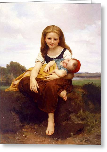 Williams Sisters Greeting Cards - The Elder Sister Greeting Card by William-Adolphe Bouguereau