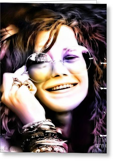 Las Cruces Digital Art Greeting Cards - The Electric Janis Joplin Greeting Card by Barbara Chichester