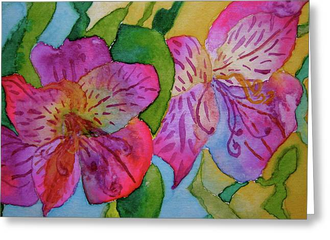 Bht Greeting Cards - The Electric Kool-Aid Alstroemeria Test Greeting Card by Beverley Harper Tinsley