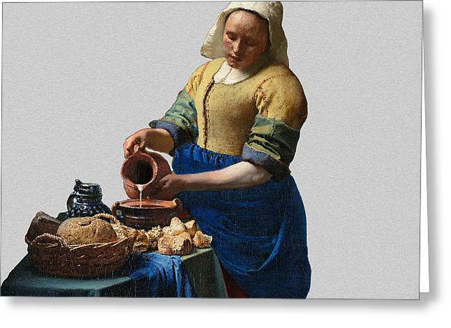 Pouring Digital Art Greeting Cards - The Elegance of the Kitchen Maid Greeting Card by David Bridburg