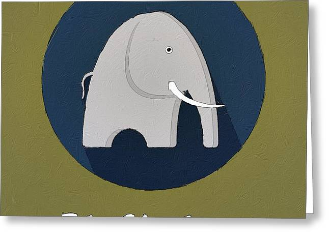 Suburban Posters Greeting Cards - The Elephant Cute Portrait Greeting Card by Florian Rodarte